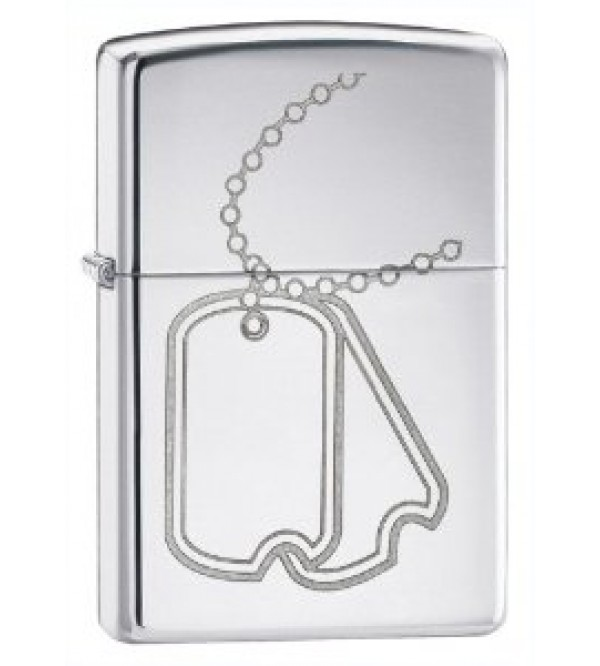 Dog Tag Polished Chrome Zippo
